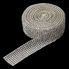 RaeBella Weddings Decorative 8 Row Rhinestone Mesh Ribbon - 5 Yards per roll / spool