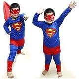 Happy GiftMart Superman Costume Fancy Dress Outfit Suit Mask Children (7-8)