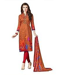 Digital Printed Cotton Slik Dress Material With Neck Thread Work - B06XVZS2B6