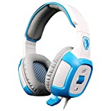 SADES SA-906 USB Wired 7.1 Surround Noise Cancelling PC Gaming Headset With Microphone For PC Gamer Blue