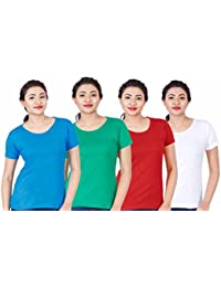 Fleximaa Women's Cotton Round Neck T-Shirt Plain (Pack Of 4) - White, Red, Blue & Pakistan Green Colors.