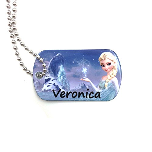 Theme Park Food and Safety - happypettag Elsa Frozen Personalized Keychain Kid ID Tag Girls Dog Tag Necklace, Personalized Lost Child ID Girls Necklace