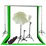 CowboyStudio Photography/Video Studio Triple Lighting Kit With 10 Feet X 12 Feet Black, White And Green Muslins...
