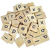 Alcoa Prime 100pcs Wooden Alphabet Puzzle Tiles Letters Board Embellishments Craft DIY