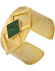 Voylla Stylish Green Stone Embellished Cuff Bracelet