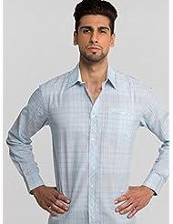 Pearl Blue And Grey Checkered Shirt By Mavango