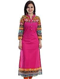 Kurti For Women (Bankcroft Export Women's Pink Cotton Kurtis In XL Size)
