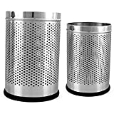 "King International Stainless Steel Perforated Open Dustbin 5 Litre (7""x10"") + 7 Litre (8'' X 12'') Set Of 2 Pcs"