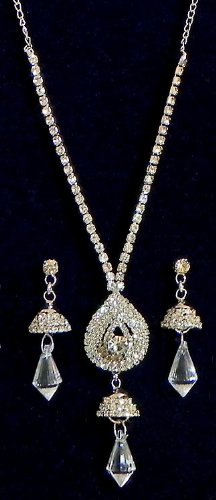 White Stone Studded Necklace And Earrings - Stone And Metal - B00K4F4O80