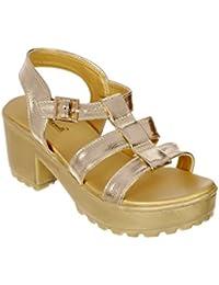 Bruno Manetti Bruno Manetti Women Golden Fuax Leather Heels
