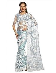 Designersareez Women Net Embroidered Light Sky Blue Saree With Unstitched Blouse(1477)