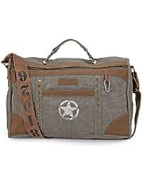 The House Of Tara Distress Finish Studded Duffle Bag (Stone Grey)