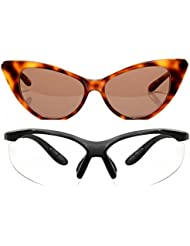 New Stylish UV Protected Combo Pack Of Sunglasses For Women / Girl ( BrownCateye-ClearNightVision ) ( CM-SUN-044 )