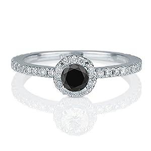 1.50 carat Round Cut Black Diamond & White Diamond Halo Engagement Ring in 10k White Gold