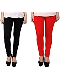 Snoogg Womens Ethnic Chic Inspired Churidar Leggings In Black And Red