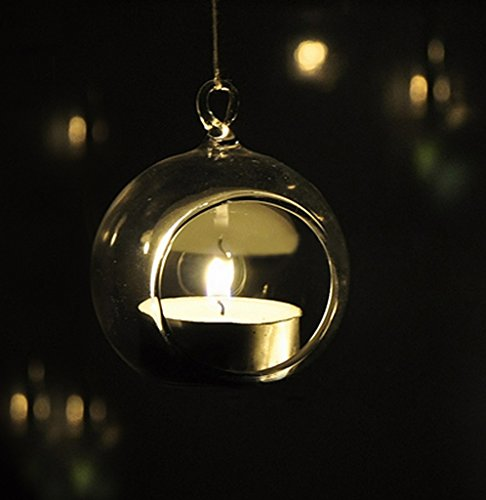 TIED RIBBONS Hanging Glass Vase,Light Ball Shape Tealight Candle Holder, Hanging Glass For Dried Flower,Home Garden...