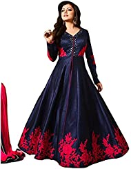 Sancom Blue Party Wear Bhagalpuri Salwar Suit With Heavy Embroidery - Dress Material