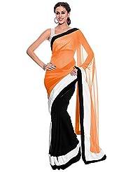 Balaji Women's Chiffon Saree(Ob7055,Orange)