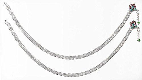 DollsofIndia Pair Of White Metal Anklet - 10 Inches Each - White - B01AON7F82