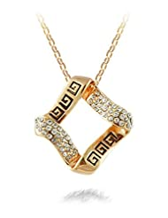 Silver Shoppee Dazzling You 21K Yellow Gold Plated Cubic Zirconia Studded Alloy Pendant