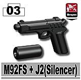 M92FS Pistol with Silencer (Black) - Custom Minifigure Piece