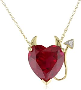 XPY 14k Yellow Gold Created Ruby Heart Devil Pendant with Diamond Accent, 18