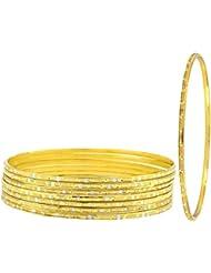 The Jewelbox Wedding Traditional 22k Gold Plated Rhodium Metal Chuda Kada Bangle Set Of 8 For Women
