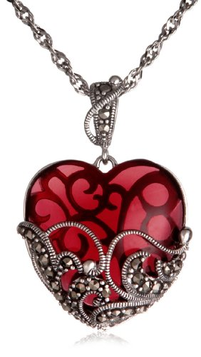 Sterling Silver Marcasite and Garnet Colored