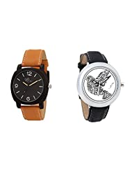 Gledati Men's Black Dial & Foster's Women's White Dial Analog Watch Combo_ADCOMB0002053
