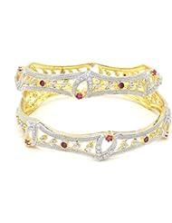 ESHOPITUDE CZ AMERICAN DIAMOND RUBY GOLD PLATED BANGLES SET RAKHI FESTIVAL DESIGN FOR WOMEN SIZE 2.4