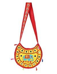 Trendy Yellow Embroidered Cotton Elephant Sling Bag For Women's By Rajrang