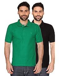 Blacksmith Paris Green & Vegas Black Mens Luxury Combed Cotton Polo Tshirt Combo
