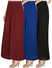 NGT Women's Stylish Royal Blue, Maroon And Black Premium Lycra Fit Plazzo