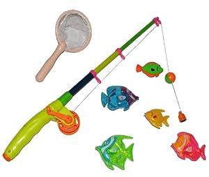Angelspiel Fische mit ausziehbarer Angel und Kescher Netz