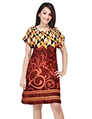 ADS Womens Digital Print Brown Kurti/Tunic