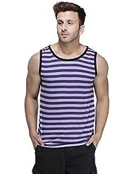 Rigo Purple Striped Viscose Sleeveless Scoop Neck Slim-Fit Vest