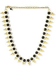 Voylla Antique Gold Plated Necklace Adorned With Black Stones