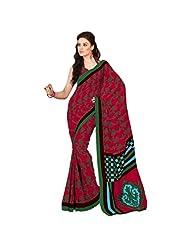 Inddus Exclusive Women Modish Pink Cotton Printed Saree - B00O63ZAL6