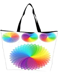 Snoogg Set Of Rainbow Flowers Waterproof Bag Made Of High Strength Nylon