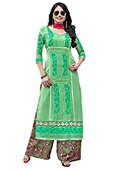 Georgette With Santoon Inner Top With Georgette Print Plazo And Nazmine Dupatta - B0191QRFVK