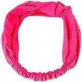 Creazy Women Head Wrap Diamond Hair Band Headwear Turban Twist Headband (Hot Pink)