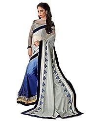 AG Lifestyle Grey & Blue Satin & Chiffon Jacquard Pallu Saree With Unstitched Blouse SAV4205A