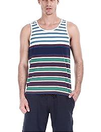 Zobello Men's Jacquard Yarn Dye Stripe Tank