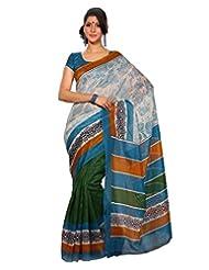 Inddus Exclusive Women Fashionable Contemporary Stylish Blue/Green Printed Bhagal Puri Silk Saree