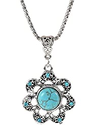 Glitz Trendy Collection Turquoise Gem Flower Alloy Pendant Necklace For Women
