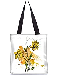 Snoogg Vector Watercolor Floral Background Fashion Printed Shopping Shoulder Lunch Tote Bag For Women