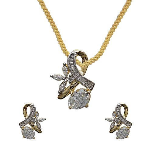 Sheetal Jewellery Silver & Golden Brass & Alloy Pendant Set For Women - B00TIH0ZBU