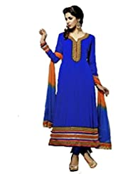 FadAttire Designer Anarkali Suit With Elegant Patch And Classic Zari Work On The Border, Sleeves And Neck-Blue-FATB06...