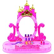 Sharky Toys Princess Pink Pretend Play Castle Table Top Beauty Mirror Vanity Battery Operated Toy Play Set W/...