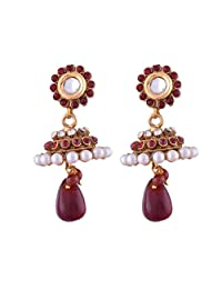 Ganapathy Gems 1 Gram Gold Plated Jhumka With Maroon And White Stones